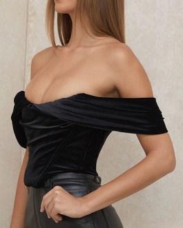 Blouse Bateau Neck Strapless Short Sleeve Velour Sexy Tops