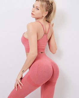Casual Solid Color Two Piece Sets High Waist Gym Outfits