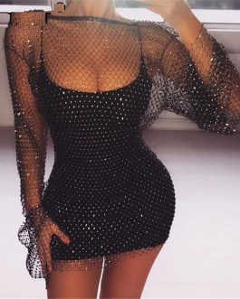 Diamonds Fishnet Sexy Beach Club Party Dresses
