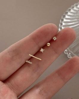 Five-piece Zircon Earrings Temperament Versatile Exquisite Jewelry