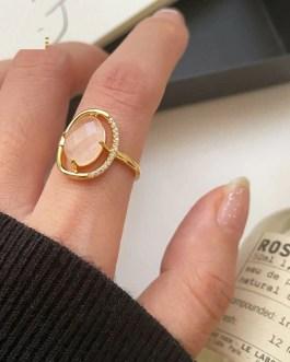 Large Crystal Zircon Ring Charm Romantic Classic Jewelry