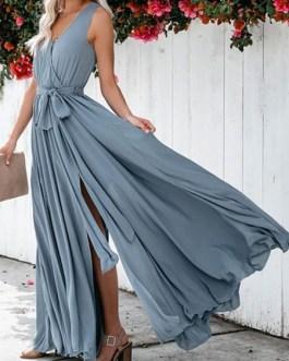 Sleeveless Blue V Neck Split Maxi Dress