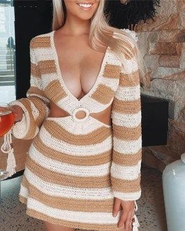 Striped Knitted Sexy Hollow Out Backless Casual Dress