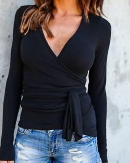 T Shirt V Neck Long Sleeve Wrap Top