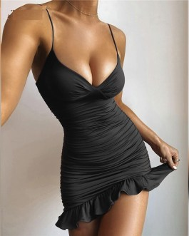 V-neck Ruched Ruffle Bodycon Dress