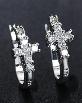 Zirconia Cross Hoop Earrings Fashion Jewelry