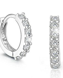 925 Sterling Silver Paved Crystal Hoop Earrings