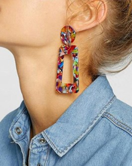 Abstract Color Explosion Large Dangling Hollow Earrings