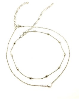 Accent Loose Fit Small Chain Choker Middle Heart Charm