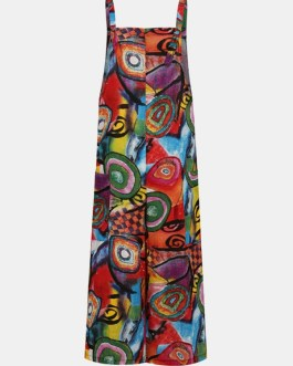 Bohemian Printed Buttons Side Pockets Straps Sleeveless Jumpsuits