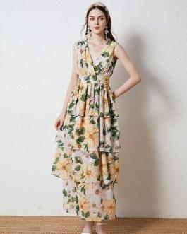 Camellia Floral Print Sleeveless V-Neck Long Cake Dress