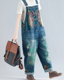 Casual Print Floral Pockets Sleeveless Overall Denim Jumpsuit