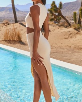 Casual Sleeveless Crop Top Split Skirt Sexy Two Piece Set