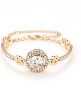 Crystal-Encrusted Bracelet with Large Center Stone