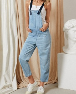 Denim Pocket Button Strap Sleeveless Casual Jumpsuit