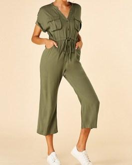 Drawstring Button Pocket Short Sleeve Casual Jumpsuit