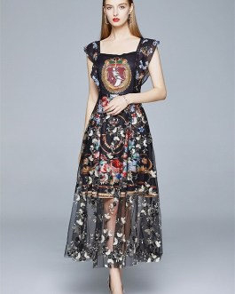 Elegant Print Flower Embroidery Patchwork Party Dress Butterfly Sleeve Long Dress Vintage Chic Mesh Dresses vestido