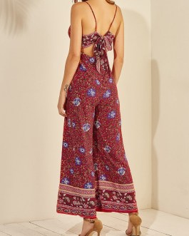 Ethnic Floral Print V-neck Long Sleeveless Casual Strap Jumpsuit
