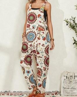 Ethnic Print Pocket Long Sleeveless Casual Jumpsuit