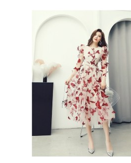 Fashion Designer Party Midi Dress Long Sleeve Mesh A-Line Dresses vestidos