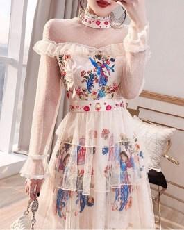Fashion Mesh A-Line Dress Lace Ruffles High Waist Print Party Mini Dresses
