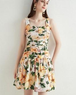 Fashion Ruffles Cotton Dress Slash Neck Backless Floral Print Ball Gown Pleats