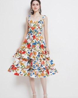 Fashion Tiered Layer Ruffles Boho Dress Floral Print Midi Dresses