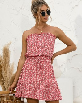 Floral Ruffle Ruffle Strapless Dresses