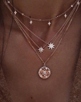 Four Gold Chain Set of Link Necklaces Starburst Sun Charms with Large Medallion