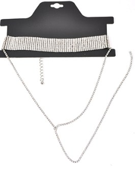 Glamorous Square Gem Beaded Multi Line Choker Drop Line Accent Necklace Set