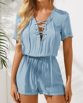 Knotted Hollow Short Sleeve Casual Lace Up Romper