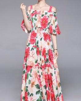 Off Shoulder Flare Sleeve Dress Flower Print Ruffles Maxi Dress