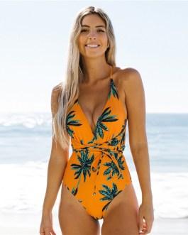 One Piece Swimsuit  V Neck Wireless Bra Tropical Print Beach Bohemian Bikinis