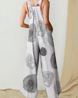 Printed Wide-Legged Side Pockets Sleeveless Jumpsuits
