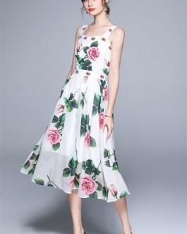 Rose Floral Printed Chiffon Long Dresses