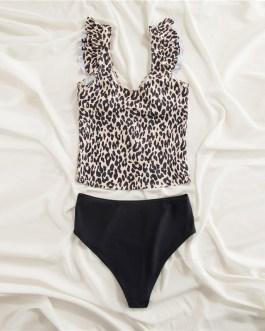 Ruffle Bikini Swimsuit V neck High Waist Beach Sexy Bikinis Set