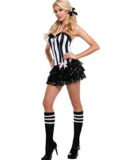 Sexy Cheerleader Two Tone Polka Dot Ruffle Costume
