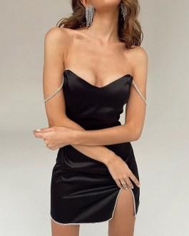 Sexy Crystal Diamond Strap Split Mini Bodycon Dress