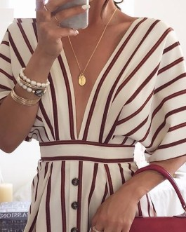 Short Sleeve Deep V neck Elegant Stripe Print Dress