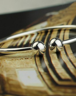 Sterling Silver Bangle Bracelet with Rounded Edges