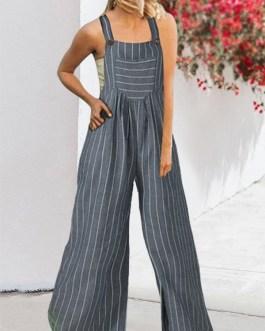 Striped Print Wide-legged Pockets Straps Sleeveless Jumpsuits