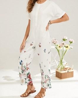 Vintage Flower Print Short Sleeve Casual Jumpsuit