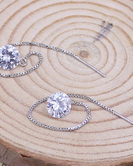 Zircon Topaz Gemstones Dangle Chain Earring