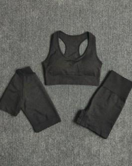 3Pcs Shorts Sleeve Crop Top High Waist Leggings Sports Suits