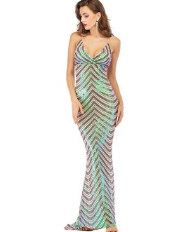 Backless Polyester Sequins Cami Gowns Long Party Dress