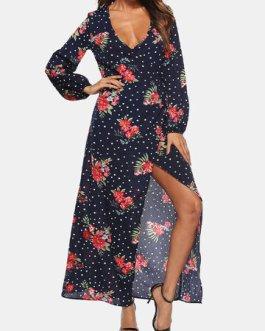 Bohemian Flower Print Tie Front Deep V Holiday Dress