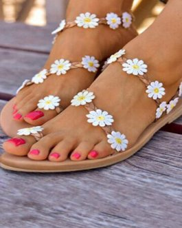 Braided Strap Flowers Decor Comfy Clip Toe Beach Sandals
