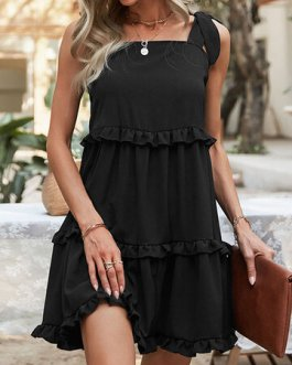 Casual Sleeveless Knotted Solid Color Holiday Dress