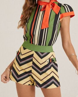 Color Contrast Striped Print Knotted Collar Two-Piece Suit