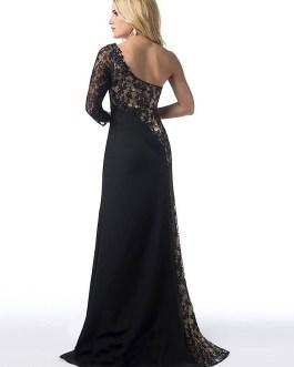 One Shoulder Lace Patchwork High Split Long Maxi Dress